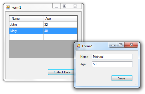 Passing data between two Forms in WinForms