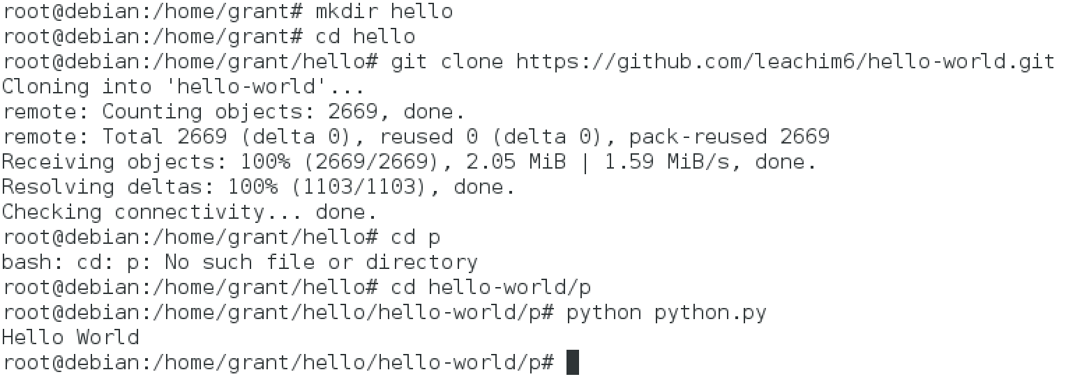 debian - hello world test