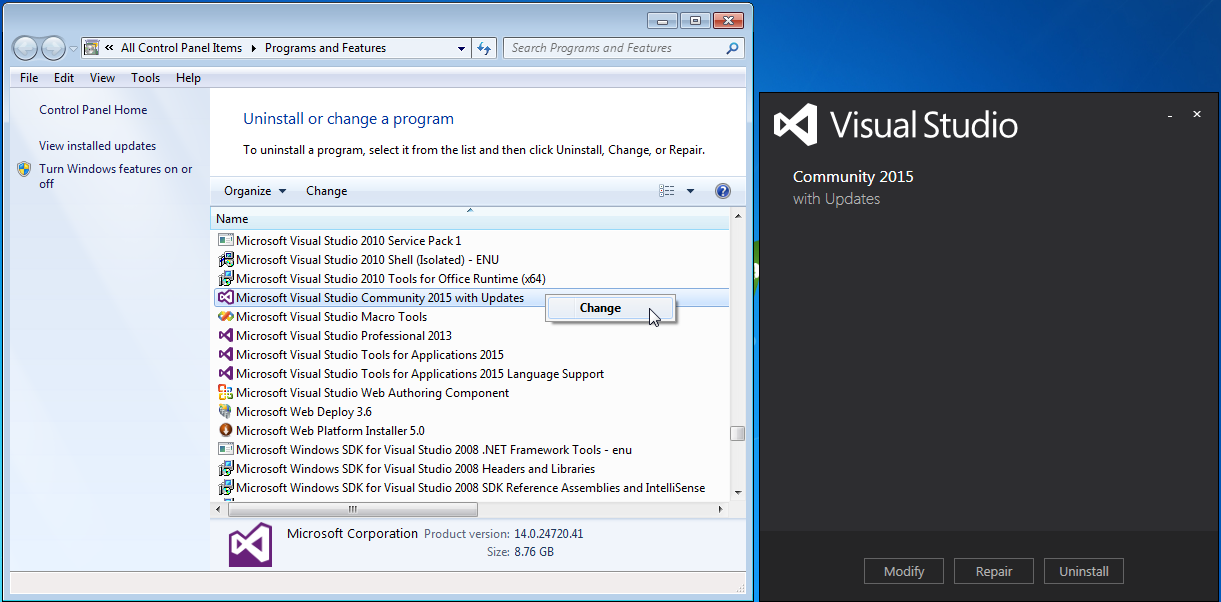 modify visual studio from windows add remove programs dialog