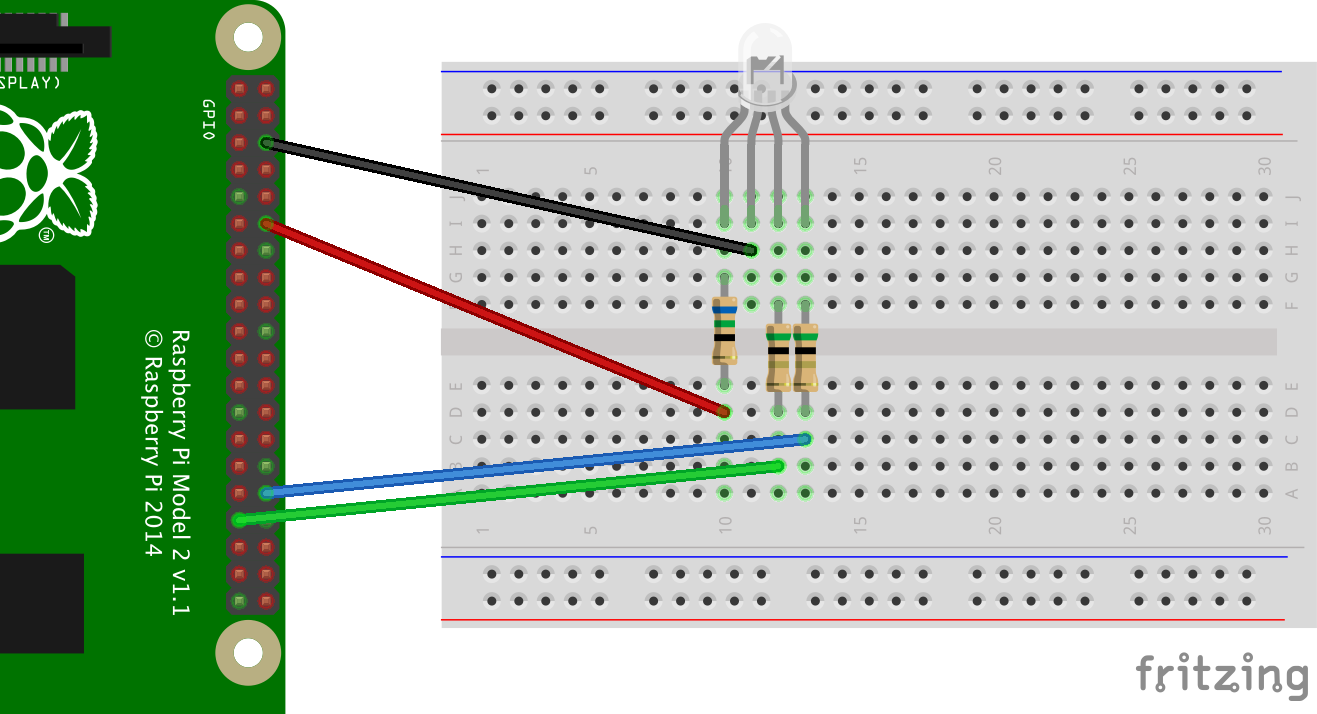 How To Use An Rgb Multicolor Led With Pulse Width Modulation Pwm Wiringpi Python Serial Example Bb