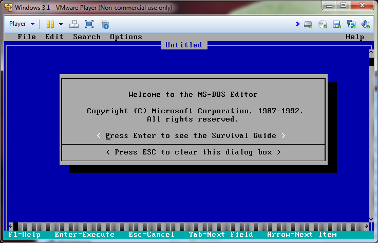 Installing Windows 3 1 in VMware Player